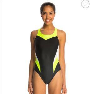Nike Women's Neon Green Black One Piece Swim Suit